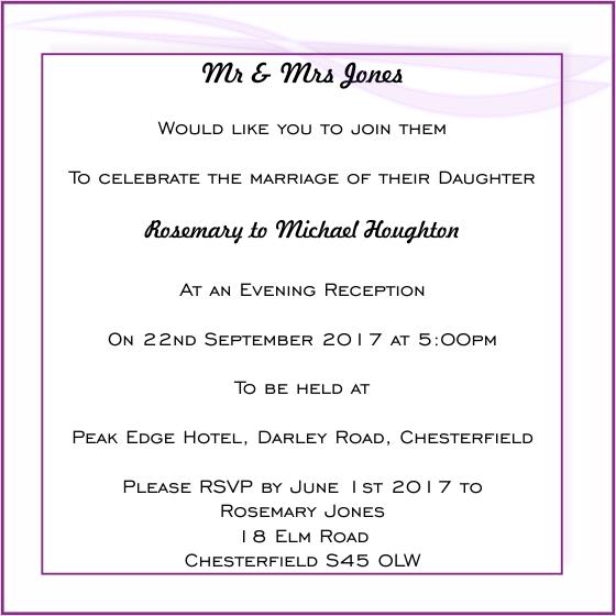 wedding evening invitation wording